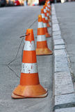 Group warning cones on the road Stock Photo