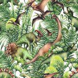 Group of watercolor dinosaurs. Group of realistic watercolor dinosaurs surrounded by lush prehistoric plants. Animals of Jurassic period. Hand painted seamless Royalty Free Stock Image