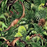 Group of watercolor dinosaurs. Group of realistic watercolor dinosaurs surrounded by lush prehistoric plants. Animals of Jurassic period. Hand painted seamless Stock Photos