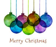 Group of Watercolor Hand Drawn Christmas Balls. Vector illustration Stock Image