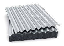 Group of wave shaped zinc-plated metal sheets Royalty Free Stock Photography