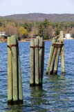 Group of weathered wood pilings in calm waters of lake Stock Photography