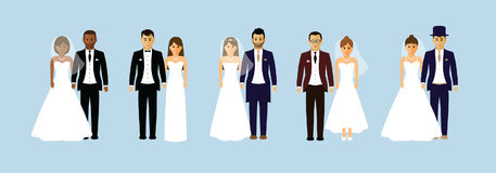 Group of wedding couples Royalty Free Stock Image