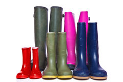 Group of wellie boots Royalty Free Stock Photos