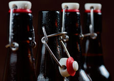 The group of wet bottles of beer Royalty Free Stock Images