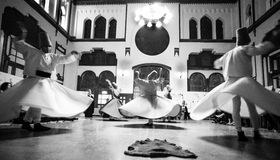 Group of whirling Dervish dancers stock photo