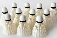 Group of white badminton shuttlecocks Stock Photo