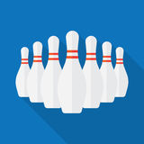 Group of White Bowling Pins Stock Photography