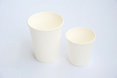 Group of white coffee cup made from cup stock paper Stock Photography