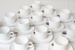 Group of white coffee cups in cafe bar Stock Photography