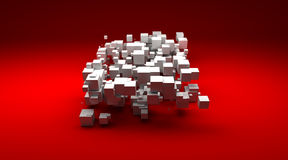 Group of white cubic particles Royalty Free Stock Image