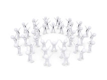 Group of white 3d people raised their hands Stock Images