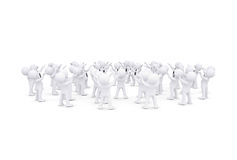 Group of white 3d people raised their hands Royalty Free Stock Image