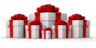 Group white gift box vector illustration