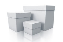Group of white gift boxes close up right view. Stock Photos