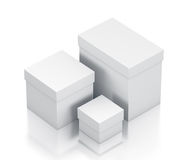 Group of white gift boxes isometric right view. Royalty Free Stock Images