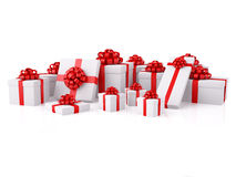 Group of white gift boxes with red festive bows. Group of gifts. A white boxes with a red festive bows. XXXL size image isolated on white Stock Photo