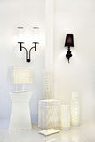 Group of white metal with pattern stand lamp and wall lamp Stock Photo
