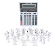Group of white people worshiping calculator. 3d render isolated on white background Royalty Free Stock Photo