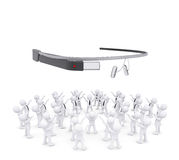 Group of white people worshiping google glass Royalty Free Stock Photo