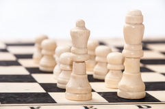 The group of white pieces on the chessboard Royalty Free Stock Images