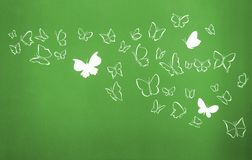 Background of white silhouettes butterflies flying stock photos