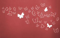 Background of white silhouettes butterflies flying Royalty Free Stock Photography