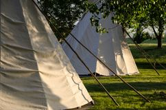 Group of Tipis Standing Among the Trees. Group of White Tipis Standing Among the Trees stock photos