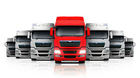 Group of white truck with a red headed. Royalty Free Stock Images