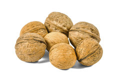 Group of whole walnuts Stock Photos