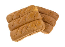 Group of whole wheat sub rolls on a white background Stock Photography