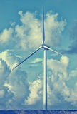 Group of Wind Power Installations in Sunset Royalty Free Stock Photo