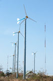 Group of wind turbines. Royalty Free Stock Photo