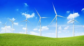 Group of  Wind Turbines on the green hill Stock Photos