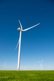 Group of windmills for electric power production in the green field of wheat. Alternative energy sources.Ecologically clean energy sources Stock Photo