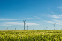 Group of windmills for electric power production in the green field of wheat. Alternative energy sources.Ecologically clean energy sources Royalty Free Stock Photo