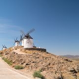 Group of windmills in a hill at the Consuegra, La Mancha, Spain. Europe Stock Images