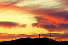 Group of windmills for renewable electric energy production. Group of windmills renewable electric energy production Stock Images