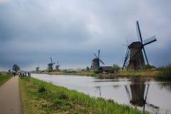 Kinderdilk village. A group of windmils along the river at kinderdijk village in Netherland Stock Photo