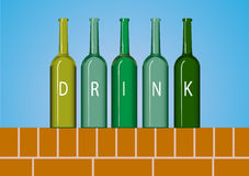 Group of wine bottle,beer bottle on red brick wall backgrounds Royalty Free Stock Image