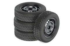 Group of winter automotive tires Stock Photo