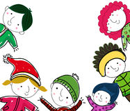 Group of winter children Royalty Free Stock Images