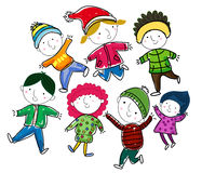 Group of winter children Stock Images