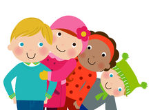 Group of winter kids Royalty Free Stock Photo