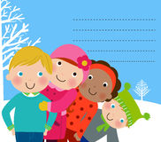 Group of winter kids Stock Photography