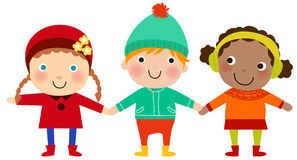 Group of winter kids Stock Photo