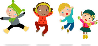 Group of winter kids jumping royalty free illustration