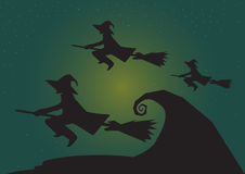 Group of witch flying with moon at night, halloween background theme in Vector Stock Image