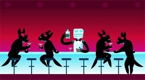 Group of wolves sit at bar with drinks, cocktails, robot stock illustration