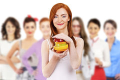 Group of woman with fruit Stock Photo